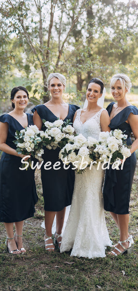 Elegant Simple V-neck Sleeveless Party Dresses Bridesmaid Dresses, SW1096