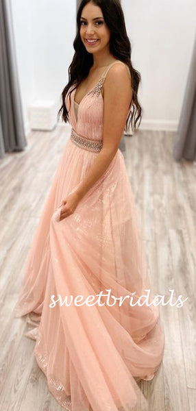 Simple V-neck Tulle A-line Long Prom Dresses.SW1174