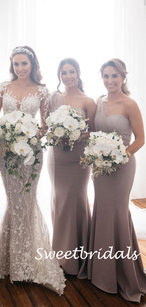 Charming One-shoulder Sleeveless Mermaid Long Bridesmaid Dresses, SW1160