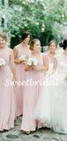 Charming V-neck Floor-length Chiffon Long Bridesmaid Dresses, SW1120