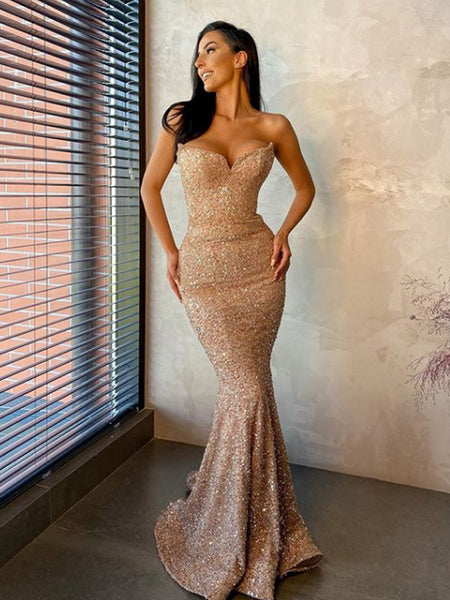 Sweetheart Mermaid Simple Sequin Long Evening Prom Dresses, PD0037