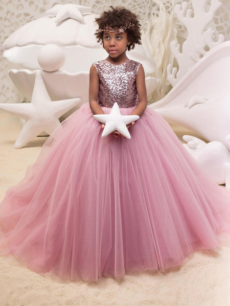 Lovely Round Neck Sleeveless A Line Tulle Sequin Flower Girl Dresses,GTE2134