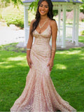 Simple V-neck Tulle Lace Mermaid Ball Gown Evening Party Prom Dresses,SW1140