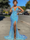 Simple V-neck Mermaid Sequin Side Slit  Zipper Up Back Long Prom Dresses.SW1150