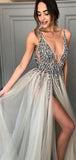 Sexy V-neck Simple Tulle A-line Long Evening Prom Dresses, PD0038