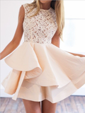 Elegant Round Neck Lace Top A Line With Ruffle Short Homecoming Dress, BTW189