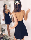 Simple Spaghetti Strap Backless Chiffon A Line Mini Short Homecoming Dress, BTW201