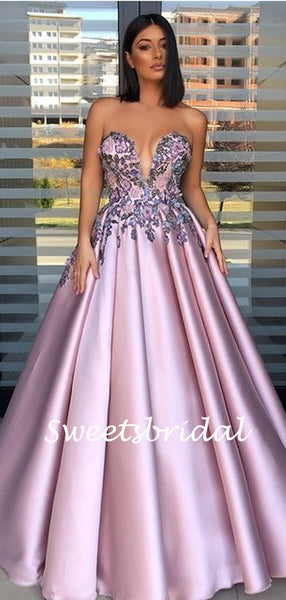 Simple Sweetheart A-line Satin Long Prom Dresses.SW1152