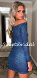 Simple Straight Long Sleeve Sequin Mini Short Homecoming Dresses, BTW303
