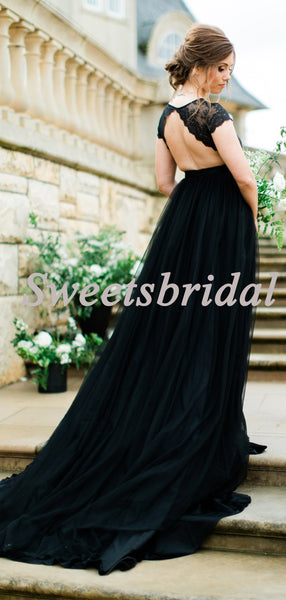 Pretty V-neck Vintage Lace Tulle Black Open Back Long Wedding Dresses Evening Dresses, WD1136