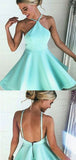Simple Halter Sleeveless Backless Satin A Line Short Homecoming Dress, BTW215