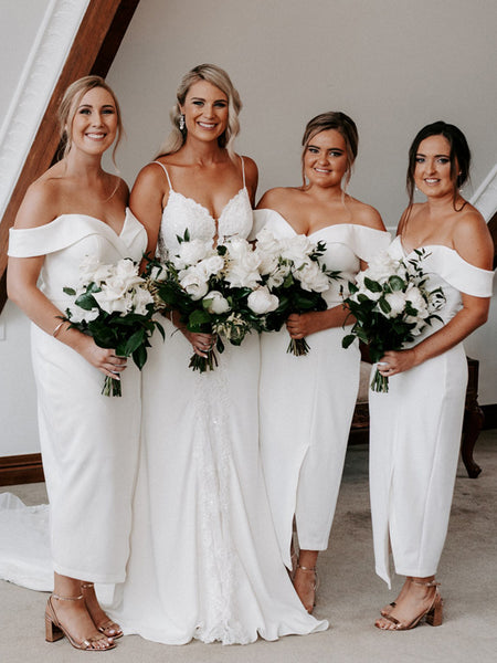 Simple Sexy Off-shoulder Sleeveless Mermaid Slit Party Dresses Bridesmaid Dresses, SW1098