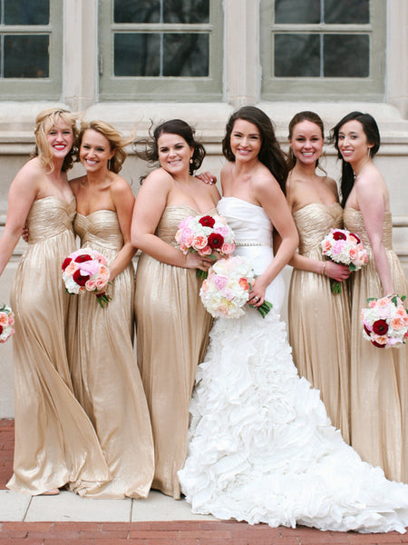 Charming Sweetheart Floor-length Sleeveless Long Bridesmaid Dresses, SW1122