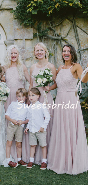 Simple Charming Sleeveless Chiffon Party Dresses Long Bridesmaid Dresses, SW1109
