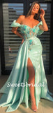Simple Off-shoulder Mermaid Side Slit Satin Long Prom Dresses.SW1153