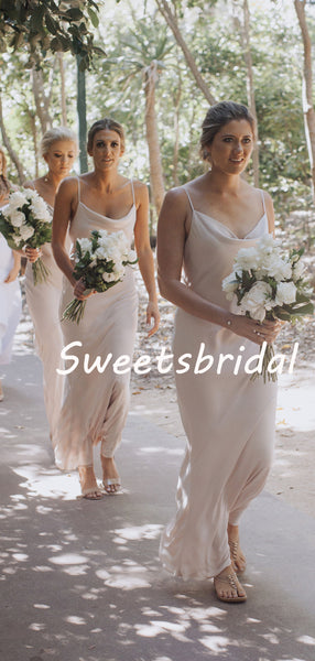 Simple Sexy V-neck Spaghetti Strap Sleeveless Party Dresses Bridesmaid Dresses, SW1099