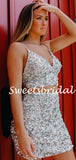 Simple V-neck Two-piece Sequin Mini Short Homecoming Dresses, BTW304