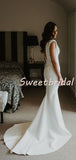 Pretty V-neck Mermaid With Train Sleeveless Long Wedding Dresses Evening Dresses, WD1129