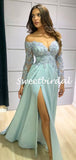 Sexy Sweetheart Lace Long Sleeve A-line Evening Party Prom Dresses,SW1143