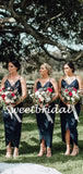 Charming Spaghetti Strap Side Slit Sleeveless Long Bridesmaid Dresses, SW1123