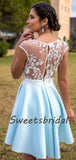 Sexy Sweetheart Lace Satin A Line Short Homecoming Dresses, BTW244