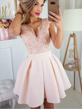 Newest Deep V Neck Lace Top Satin A Line Short Homecoming Dress, BTW178