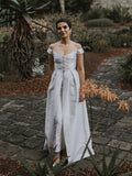 Charming V-neck Off-shoulder A-line Sleeveless Long Wedding Dresses,WD1150