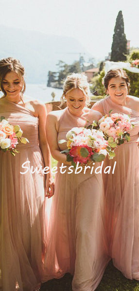 Simple Charming Sleeveless One-shoulder Tulle Party Dresses Long Bridesmaid Dresses, SW1110