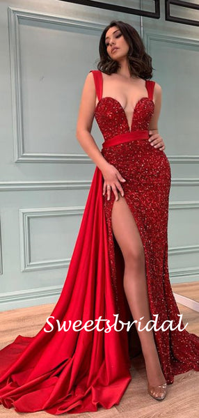 Simple Spaghetti Strap Mermaid Sequin Side Slit Long Prom Dresses.SW1151