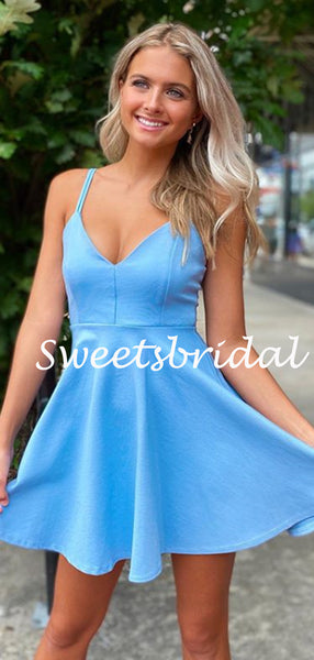 Simple V-neck Spaghetti Strap Mini Short Homecoming Dresses, BTW305