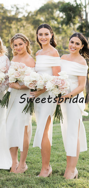 Simple Sexy Straight Satin Side Slit Party Dresses Bridesmaid Dresses, SW1100