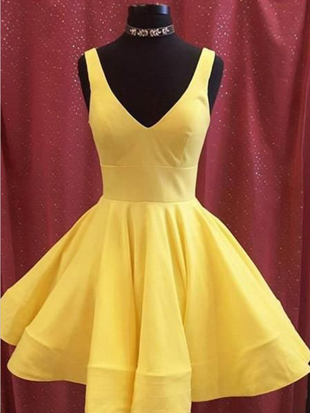 Cheap Yellow V Neck Satin A Line Short Homecoming Dress, BTW171