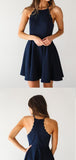 Discount Halter Navy Blue Mini A Line Short Homecoming Dresses, BTW205