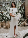 Charming Round-neck Side Slit A-line Short Sleeve Long Wedding Dresses,WD1151