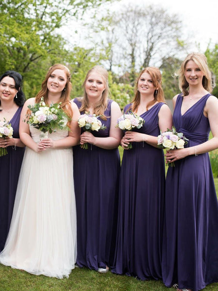 Charming V-neck Floor-length Sleeveless Long Bridesmaid Dresses, SW1124