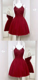 Elegant Spaghetti Strap Lace Top Tulle A Line Short Homecoming Dress, BTW211