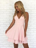 Pretty Spaghetti Strap V Neck Zipper A Line Short Homecoming Dress, BTW170