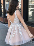 Elegant V Neck Sleeveless Open Back Lace A Line Short Homecoming Dress, BTW166