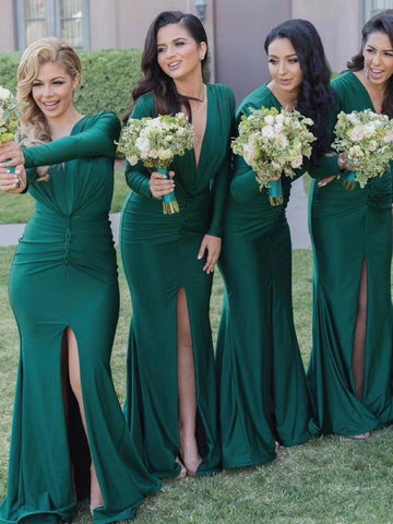 products/Green_Jersey_Long_Sleeve_V-neck_Slit_Bridesmaid_Dresses_PB1053-1.jpg