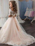 Lovely Half Sleeves Lace Tulle Long Flower Girl Dresses,GTE2117