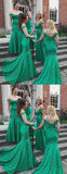 Hunter Green Lace Off Shoulder Mermaid Long Bridesmaid Dresses,PB1050