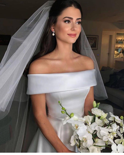 Off the Shoulder Satin Ivory Simple Long Wedding dress RPD2102