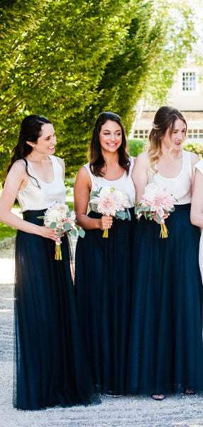 Ivory Jersy Top Navy Tulle Scoop Neck A-line Bridesmaid Dresses,DB143