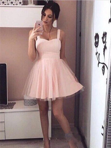 Simple Sweetheart Light Pink Tulle A Line Short Homecoming Dress, BTW167