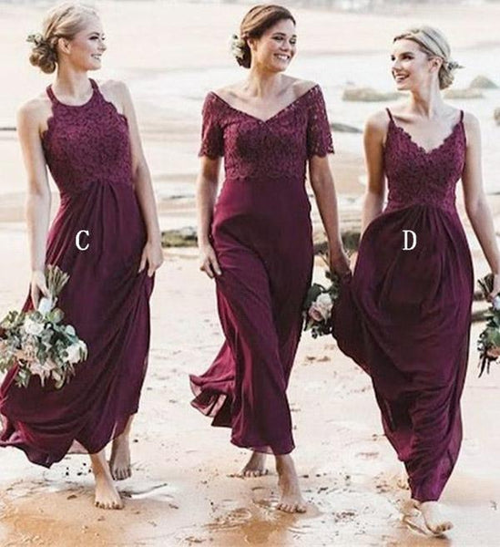 Lace Chiffon Mismatched Styles Formal Long A Line Bridesmaid Dresses MD307