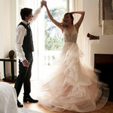 Lace Tulle A-line Romantic Long Bridal Wedding Dress RPD2103