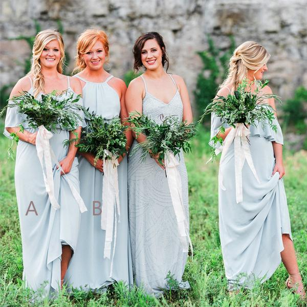 Light Pale Blue Mismatched Chiffon Simple A-line Bridesmaid Dresses,DB110