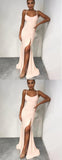 Light Pink Spaghetti Strap Side Slit Sheath Long Cheap Prom Dresses, DB1106