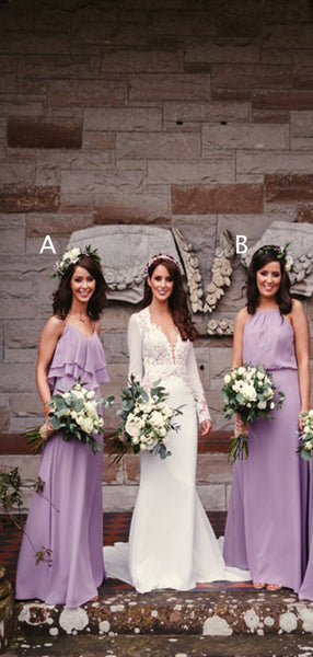 Light Purple Chiffon Mismatched A-line Long Bridesmaid Dresses ,PB1073