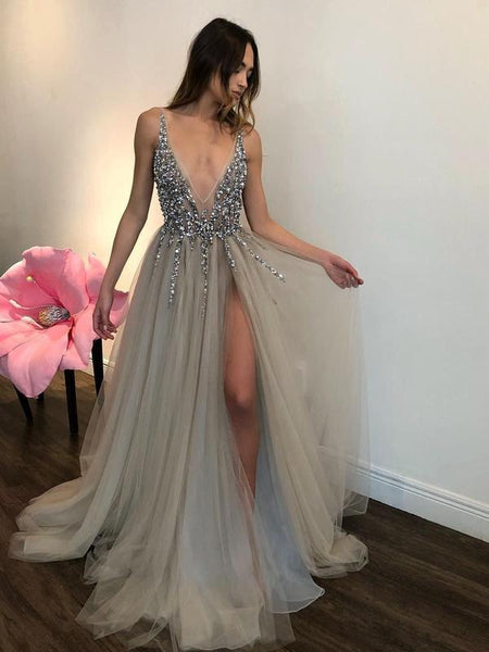 Long Backless Grey Sexy Dresses with Slit Rhinestone See Through Prom Dress DPB121